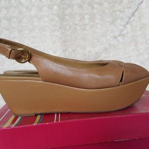 BCBGirls Gion Brown Sugar Slingback Wedge Sandals